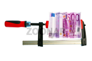 Eurogeld Schein in Schraubzwinge