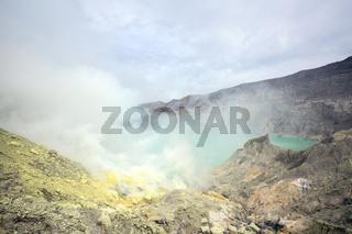 Sulfur Mine at Khawa Ijen Volcano