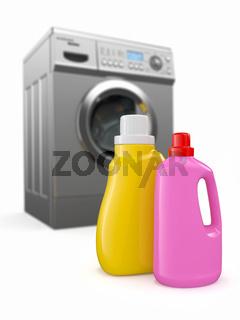 Washing machine and detergent bottles on white backround. 3d