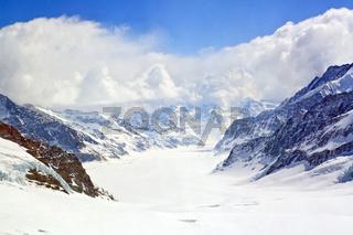 Closeup of Great Aletsch Glacier Jungfrau region