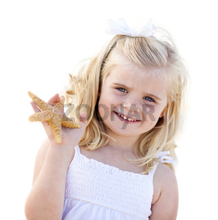 Adorable Little Blonde Girl with Starfish Isolated