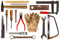 Various old craftsman tools isolated