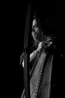 Musiker mit einer keltischen Harfe