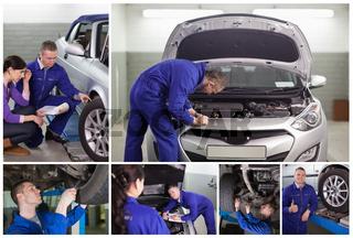 Collage of mechanics at work