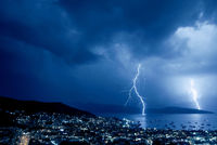Thunderstorm with lightning over Bodrum