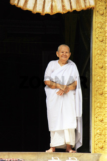 Woman monk at Phnom Sombok, Kratie, Cambodia