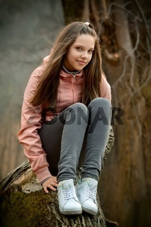 Young girl relaxing outdoors