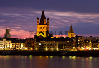 Historic center of Cologne at dusk