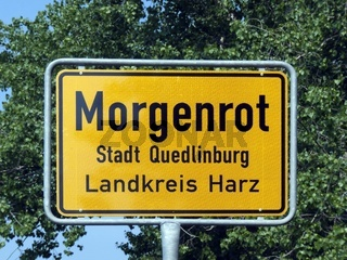 Ortsschild - Morgenrot - der Stadt Quedlinburg
