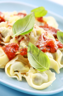 Small tortellini with tomato sauce and cheese