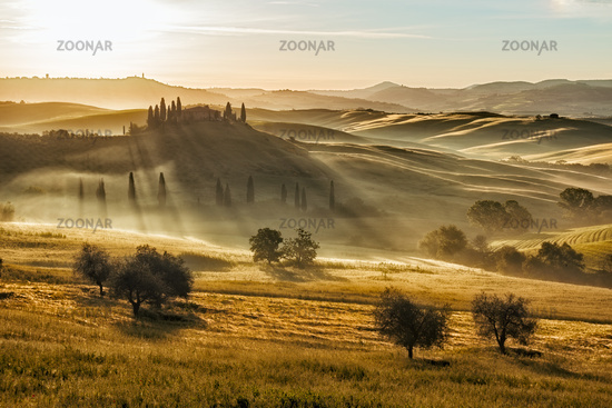 Farmhouse in Val d'Orcia after sunset, Tuscany, It