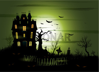 Greeny Halloween haunted mansion background