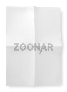Folded blank sheet of paper