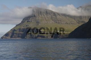 Gásadalur village over the Sørvágsfjørður. Vagar Island