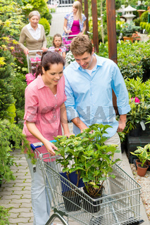 Garden centre young couple shopping plant flower