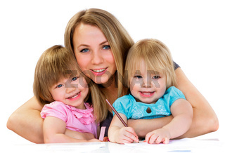 Mom and daughters, happy family