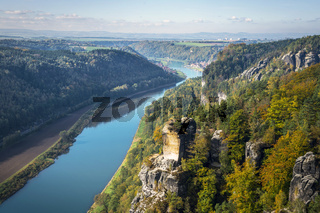 View from viewpoint of Bastei in Saxon Switzerland Germany to the town Wehlen