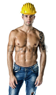 Handsome, muscular construction worker shirtless on white