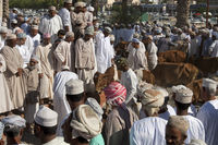 buyers and sellers at the livestock market, Nizwa