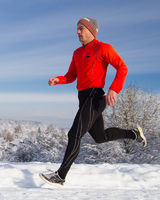 jogger in winter landscape
