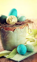 Speckled eggs with vintage feeling