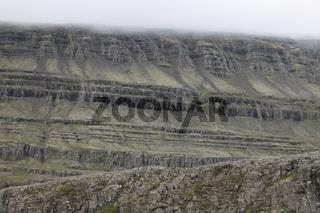 Volcanic rock formations on the slop of Berufjörður. Suður-Múlasýsla