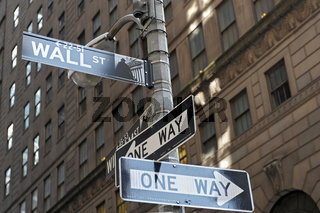 Wall Street Sign, Manhattan in New York City (USA)