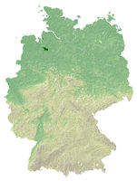 Bremen - topographical relief map Germany