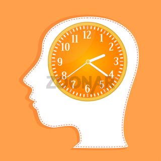 clocks in people head. invitation card