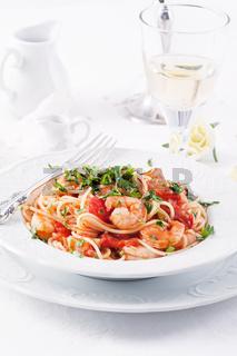 Spaghetti diablo with king prawn