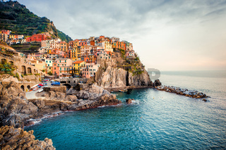 View of Manarola. Manarola is a small town in the province of La Spezia, Liguria, northern Italy.