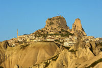 Castle Rock and the town of Uchisar,Cappadocia