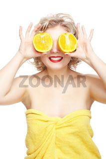 blonde woman with orange