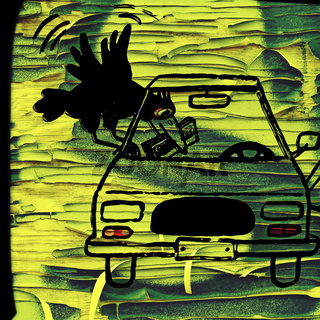diebische elster als graffiti auf einer morschen h