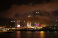 The night view of Macau city under fog