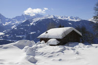 Hut in the alps in winter - Montafon, Austria