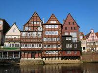 Halftimbered Houses At Ilmenau River, Lueneburg