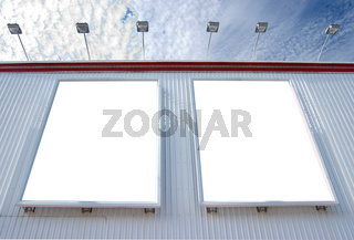 multiple blank billboard with lamps