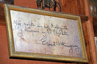 signed board of Ernest Hemingway