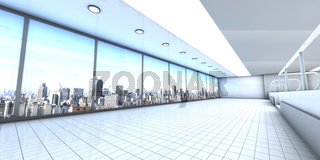A empty office with the Skyline of Sao Paulo