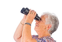senior woman with binocular