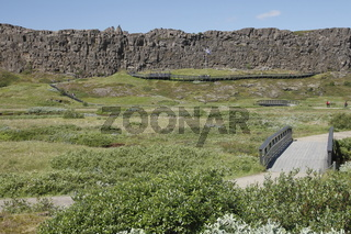 Lögberg (Law Rock) in Þingvellir (Thingvellir). The National Flag of Iceland. Suðurland