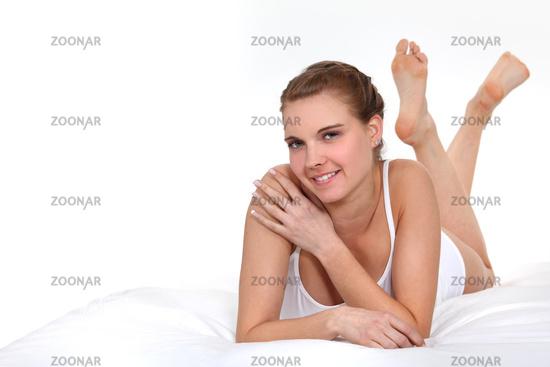 Woman laying in underwear