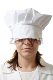 Chef woman hiding her eyes under her hat