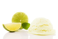 lime flavored ice cream with a lime slice and a li