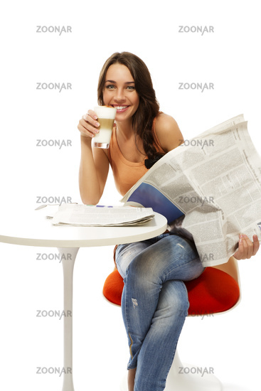 happy young woman with latte macchiato coffee and