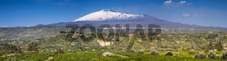 Panorama of the snow capped Etna