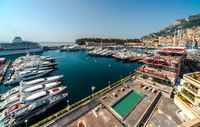 Panoramic view of port in Monaco