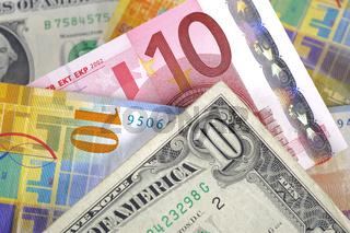Euro Dollar Franken Währung