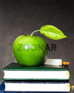 Apple, chalk and pencil on textbooks